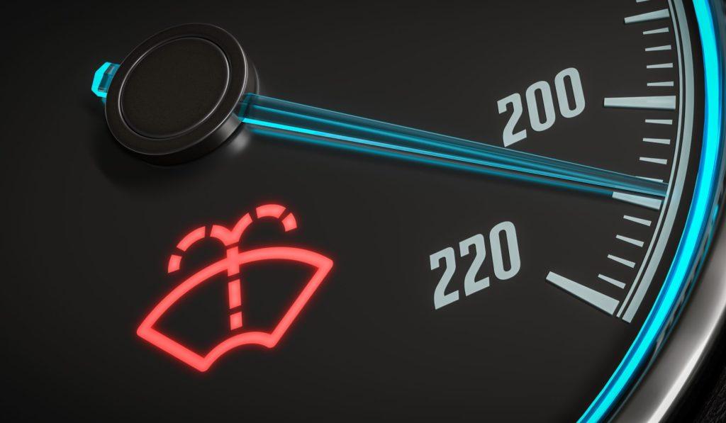 สัญลักษณ์สถานะน้ำยาล้างกระจกรถอยู่ในระดับต่ำ (Low windshield washer fluid)